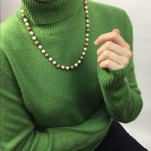 J.  Crew 100% Cashmere Green Turtle Neck Sweater L